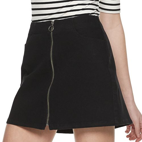 Juniors' Rewash Zip Front Skirt