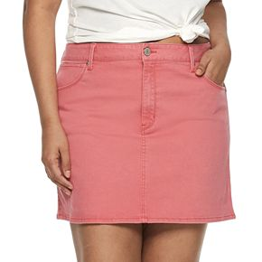 Juniors' Plus Size Mudd® 5-Pocket Clean Hem Mini Skirt