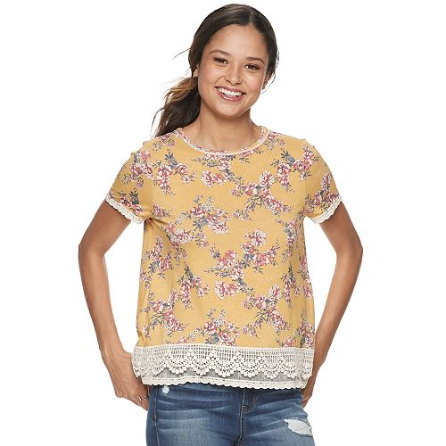Juniors' Rewind Short-Sleeve Crochet Trim Tee