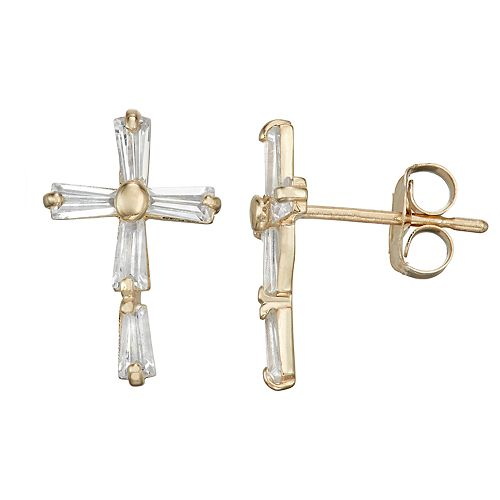10k Gold Cubic Zirconia Baguette Cross Earrings