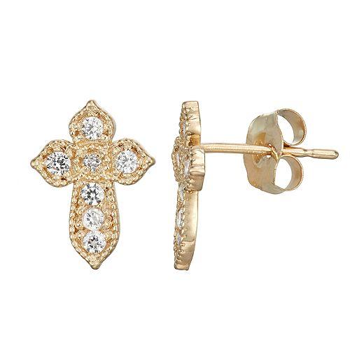 10k Gold Cubic Zirconia Cross Earrings