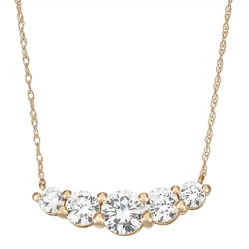 10k Gold Cubic Zirconia 5-Stone Necklace