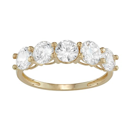 10k Gold 5-Stone Cubic Zirconia Ring