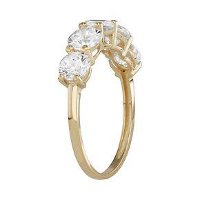 10k Gold 5-Stone Cubic Zirconia Ring