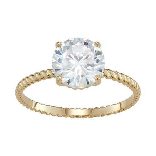 10k Gold Braided Band Cubic Zirconia Solitaire Engagement Ring