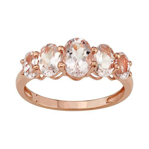 10k Rose Gold Morganite 5-Stone Ring