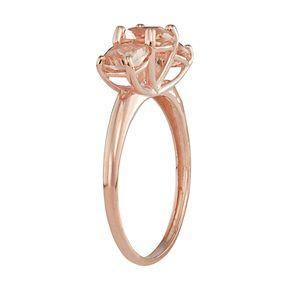 10k Rose Gold Simulated Morganite 3-Stone Ring