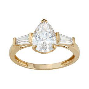 10k Gold Cubic Zirconia Teardrop Ring