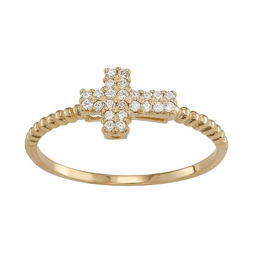 10k Gold Cubic Zirconia Sideways Cross Midi Ring