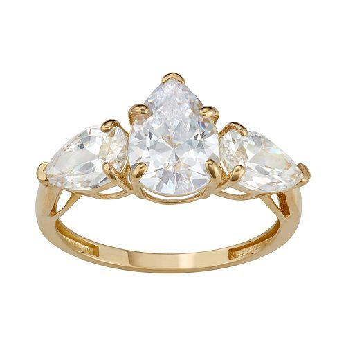 10k Gold Cubic Zirconia Teardrop 3-Stone Ring