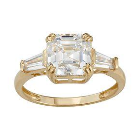 10k Gold Cubic Zirconia Cushion Ring
