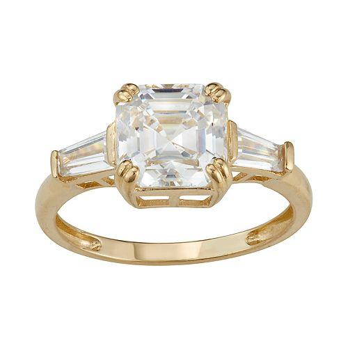 10k Gold Cubic Zirconia Cushion Ring