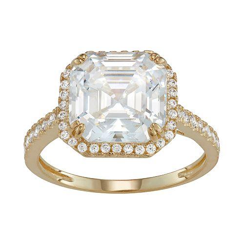 10k Gold Asscher Cut Cubic Zirconia Halo Ring