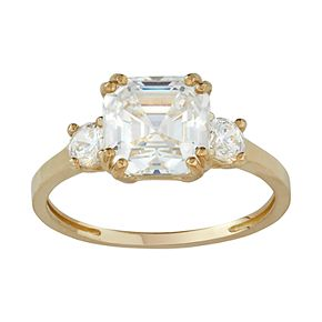 10k Gold Cubic Zirconia 3-Stone Ring