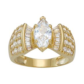 10k Gold Cubic Zirconia Marquise Ring
