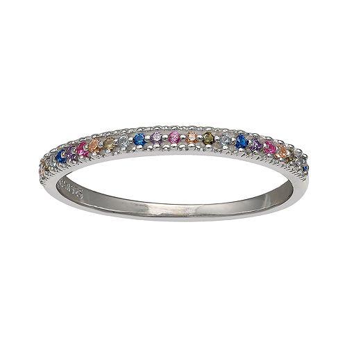 PRIMROSE Sterling Silver Rainbow Cubic Zirconia Ring