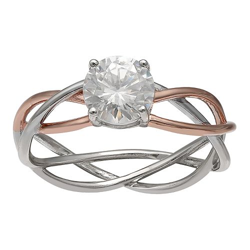 PRIMROSE Sterling Silver Two-Tone Woven Cubic Zirconia Ring