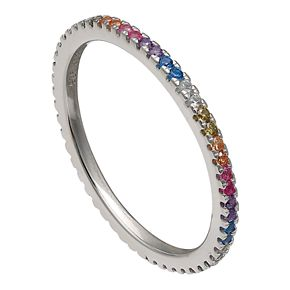 PRIMROSE Sterling Silver Rainbow Cubic Zirconia Band Ring
