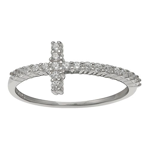 PRIMROSE Sterling Silver Cubic Zirconia Cross Band Ring