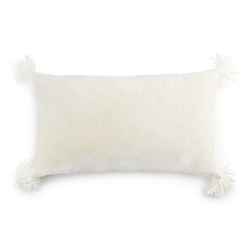 LC Lauren Conrad Ultimate Gray Oblong Chenille Feather Fill Throw Pillow