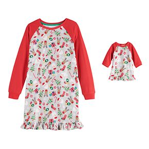 Girls 4-16 Jammies For Your Families Fun Santa Nightgown & Matching Doll Gown by Cuddl Duds