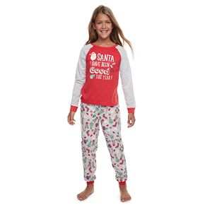 Girls 4-16 Jammies For Your Families Fun Santa Top & Bottoms Pajama Set by Cuddl Duds