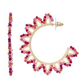 Women's Sead Bead Zig-Zag Hoop Earrings