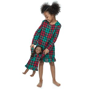 Girls 4-16 Jammies For Your Families Red Plaid Notch Family Long Sleeve Flannel Dorm Gown With Doll Gown