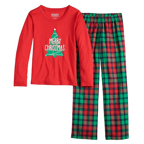 Girls 7-16 Jammies For Your Families Red Plaid Merry Christmas Family Crew Neck Tee and Flannel Pants Pajama Set