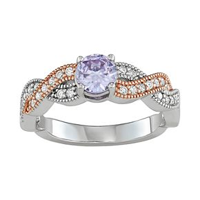 Lily & Lace Cubic Zirconia Two-Tone Twist Band Ring
