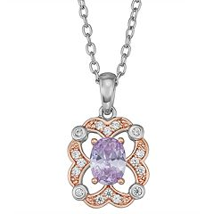 Lily & Lace Two-Tone Cubic Zirconia Oval Pendant Necklace