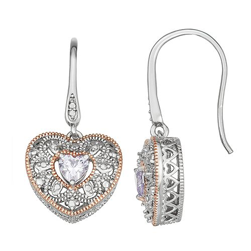 Lily & Lace Two-Tone Cubic Zirconia Heart Earrings