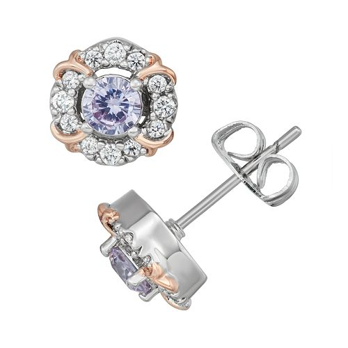 Lily & Lace Two-Tone Cubic Zirconia Halo Stud Earrings