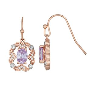 Lily & Lace Two-Tone Cubic Zirconia Drop Earrings