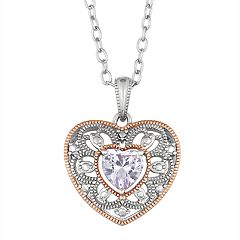 Lily & Lace Two-Tone Cubic Zirconia Heart Pendant Necklace