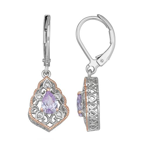Lily & Lace Two-Tone Cubic Zirconia Filigree Earrings