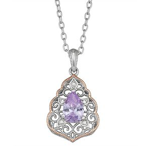 Lily & Lace Two-Tone Cubic Zirconia Filigree Pendant Necklace