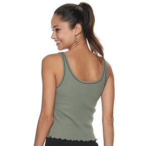 Juniors' SO® Ribbed Henley Cropped Tank Top