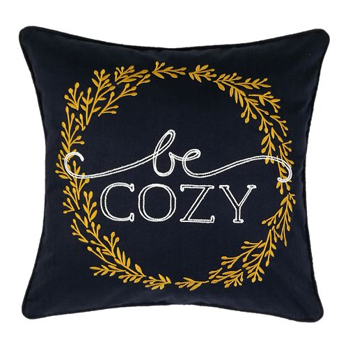 "SONOMA Goods for Life™ Ultimate Navy ""Be Cozy"" Feather-Fill Throw Pillow"