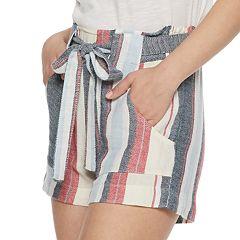 Juniors' Indigo Rein Striped Linen-Blend Shorts