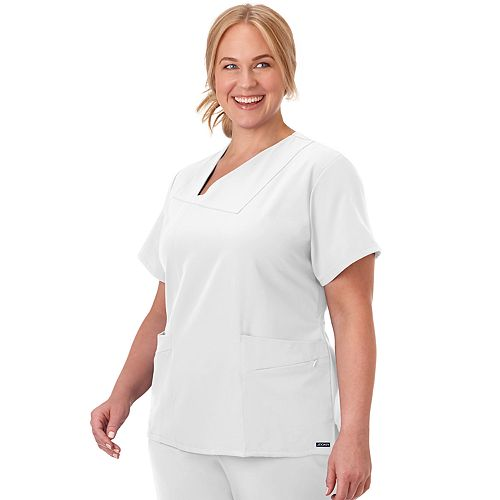Plus Size Jockey Scrubs Asymmetrical V-neck top 2468
