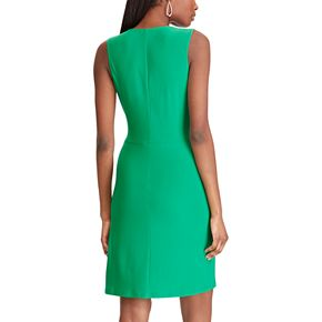 Women's Chaps Knot-Front Faux Wrap Dress