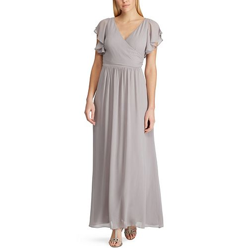 Women's Chaps Flutter Sleeve Surplice Evening Gown