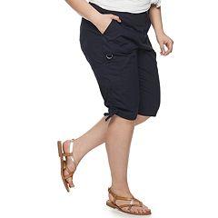 Plus Size EVRI Ruched Hem Utility Skimmer Shorts