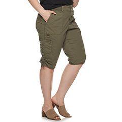 dab5647d79 Plus Size EVRI Ruched Hem Utility Skimmer Shorts
