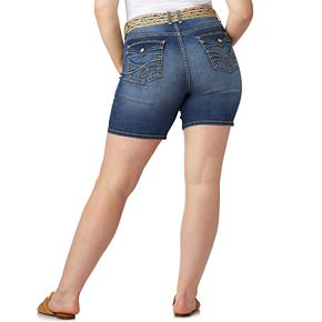 Juniors' Plus Size WallFlower Legendary Belted Mid-Thigh Shorts