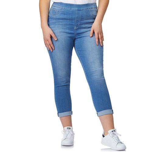 Juniors\' Plus Size WallFlower Pull-On Crop Capri Pants