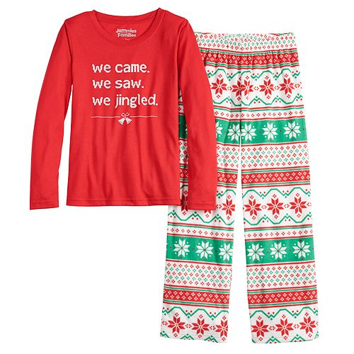 "Girls 7-16 Jammies For Your Families ""We Jingled"" Top & Bottoms Pajama Set"