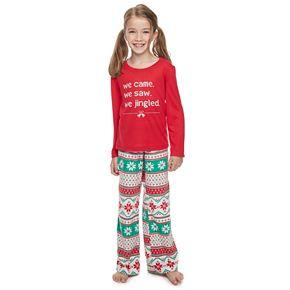"Girls 7-16 Jammies For Your Families ""We Jingled"" Top & Bottoms Pajama Set"