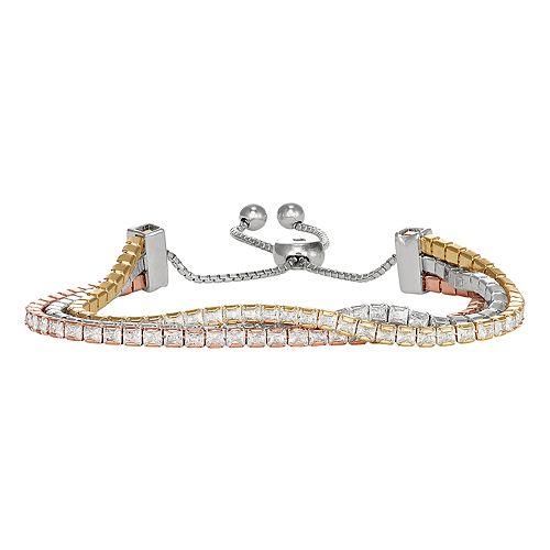 Tri-Tone Sterling Silver Triple Row Cubic Zirconia Adjustable Bracelet
